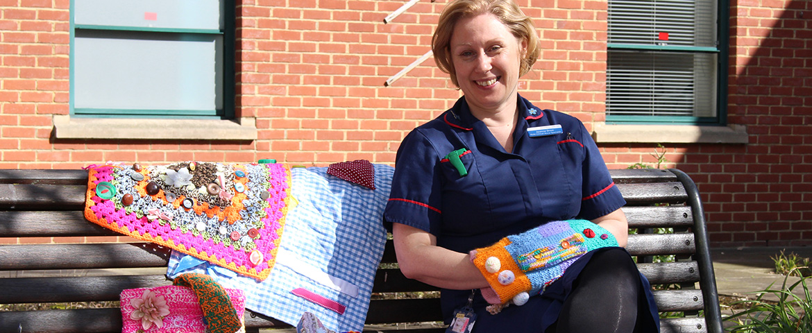 Dementia Lead Jo Dron with Twiddlemuffs